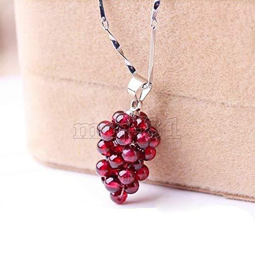 Grape Jewelry Pendant - FidgetKute Fashion Women's Natural Wine Red Garnet Grape Shape Pendant Necklace Jewelry