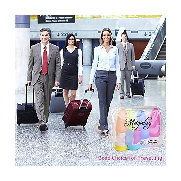 Set da Viaggio Aereo, Contenitori Liquidi Silicone Bottiglia per Shampoo, Balsamo, Crema, Lozione (4 Silicon Bottle + 2 Jar + 2 Tappo Spazzolino + 1 PVC Pochette) 2 spesavip