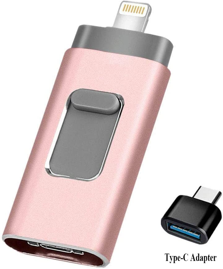 USB Flash Drive 128GB [3-in-1] Compatible iPhone, Kimiandy USB 3.0 Adapter External Storage Memory Stick Adapter Expansion Compatible iPad/iPod/Mac/Android/PC/iOS