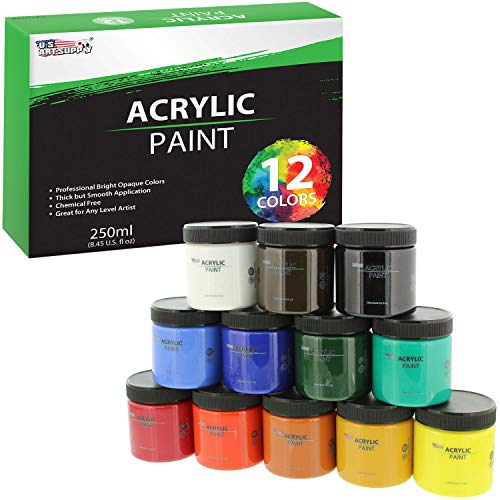 U.S. Art Supply 12 Color Acrylic Paint Jar Set 250ml Bottles (8.45 fl oz) - Professional Artist Bright Opaque Colors ()