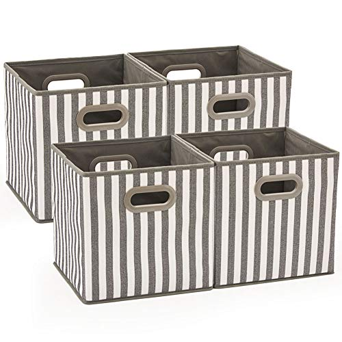 (Set of 4 EZOWare Foldable Fabric Storage Bin with Handles, Collapsible Resistant Cube Basket Box Organizer for Shelves, Closet, and More - (10.5x10.5x10.5 inch) (Gray & White Stripes))