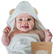 Earthgrin Hooded Baby Towel | Extra Soft for Sensitive Skin | Organic Bamboo | Antibacterial and Hypoallergenic | Absorbent Baby Bath and Beach Towel Sized for Newborn, Infant, Toddler, Girl and Boy