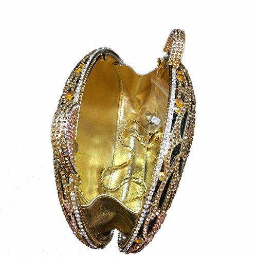 Lady Dazzle Full Diamond Clutch Tiger Head Evening Bag Bling Rhinestone Chain Cross Body Bag Animal Purse (Gold 1) by nice--buy (Image #2)