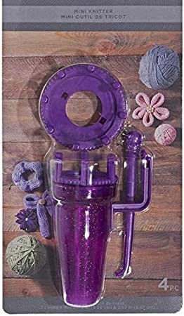 4 Piece Plastic Mini Knitter with Hook Comes with 2 Loom Sizes Instructions Included on Packaging Purple