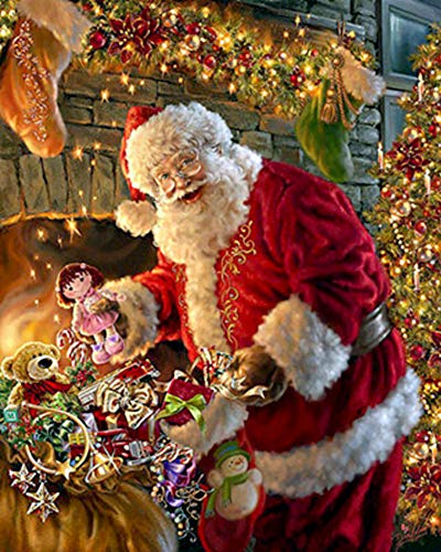 ShuoBeiter 5D Diamond Painting by Number Kits New DIY Full Drill Diamond Painting Kit for Adults Cross Stitch Embroidery Arts Santa Claus, 40x50cm (D) -