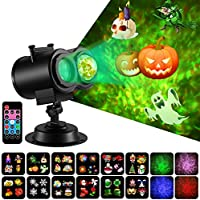 Fitfirst LED Halloween Decoration Projector Lights 2 in 1 Ripple Ocean Light with 12 Slides Patterns