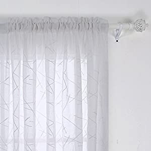 Deconovo Faux Linen Embroidered Semi Sheer Living Room Pattern Rod Pocket Curtains, 52×95 Inch, Branch-White
