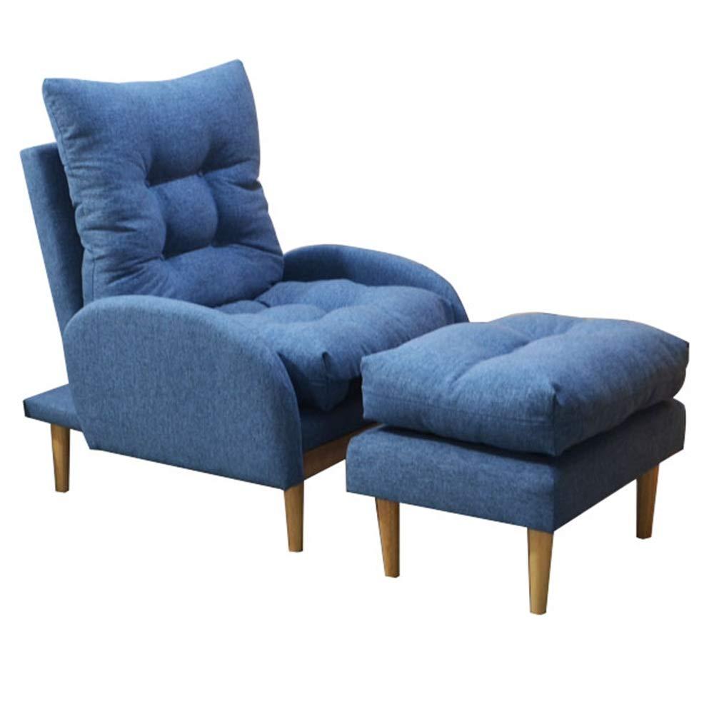 Axdwfd リクライニングチェア ラウンジチェア、怠惰なソファ畳バルコニー小さなソファシングルベッドルームコンピュータチェア175×63×46センチ (Color : Blue) B07T2D4NCG Blue