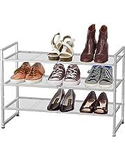 SimpleHouseware 3-Tier Stackable Shoe Shelves Storage Utility Rack, Silver