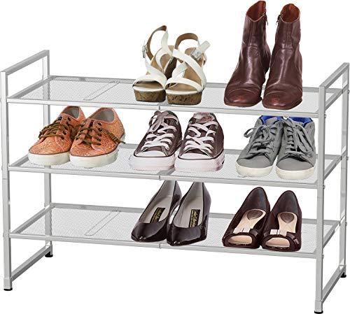 Simple Houseware 3 Tier Stackable Shoe Shelves Storage Utility Rack, Silver