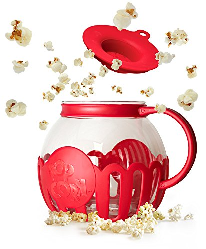 Ecolution Micro-Pop Microwave Popcorn Popper 3QT - Temperature Safe Glass w/Multi Purpose Lid, Family Size, Red ()