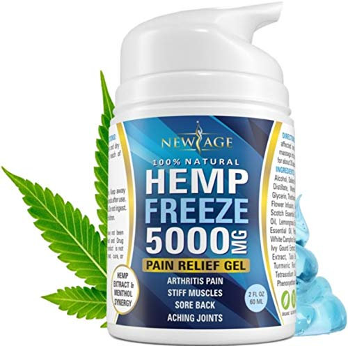 Hemp Freeze Cream with Turmeric and Menthol for Pain Relief by New Age - 5000 MG 2 OZ - Natural Hemp Extract for Arthritis, Knee, Joint & Back Pain - Made in USA - Inflammation & Sore Muscles