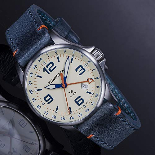 Torgoen T9 Cream GMT Pilot Watch | 42mm - Blue Leather Strap by Torgoen (Image #3)
