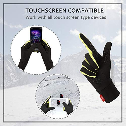 Aegend Running Sports Gloves Touch Screen Winter Lightweight Warm Gloves Mittens Liners, Black&Green, Large