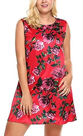 IN'VOLAND Plus Size Floral Print Sleeveless Sundresses Short Beach Dresses for Women Red-4 Large