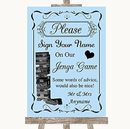 Letrero de boda azul colección Jenga libro de invitados boda ...