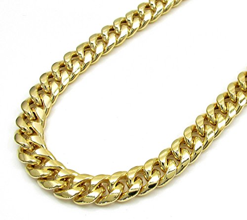10K Yellow Gold Men Women's 11 MM Hollow Miami Cuban Chain lobster Clasp, 18 to 24 Inches by Jawa Fashion