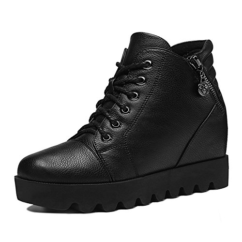 KHSKX-Autumn And Winter Increased Flat Boots Thick Soled Shoes With Slope And Muffin Cashmere All-Match Korean Female Boots Black