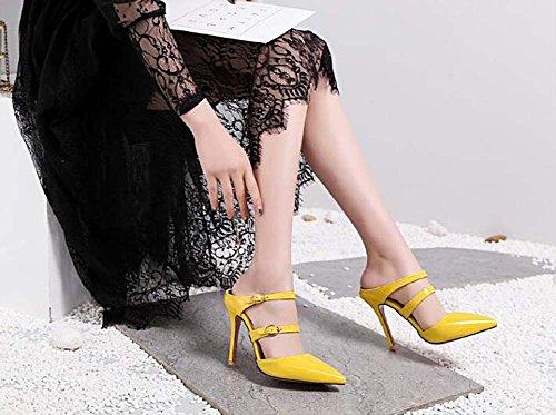 Sandali Scarpe Bianco 39 Scarpe a 34 Giallo Rosa beige Taglia da SHINIK con punta Nero Rosso tacco donna Giallo qFd1YFTwnC