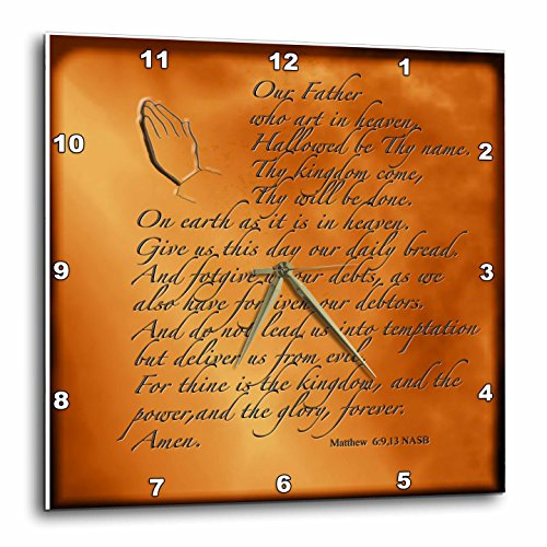 3dRose dpp_32545_1 The Lords Prayer Matthew 6 9 13 Prayer Hands and Verse Embossed on Copper-Wall Clock, 10 by 10-Inch