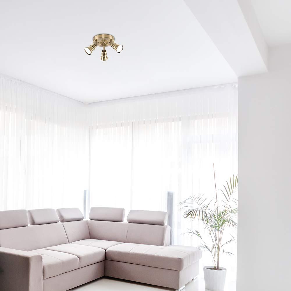Traditionelle aber moderne Deckenleuchte mit 3 einstellbaren Strahlern und einem antikmessingfarbigen Finish MiniSun Deckenspot