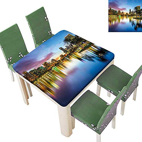 Printsonne Polyester Tablecloth Famous USA Urban Downtown View of Orlando Florida EOLA Lake Romantic Scene Blue Spillproof Tablecloth 50 x 50 Inch (Elastic Edge)