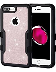 MyBat Cell Phone Case for Apple IPhone 7 Plus - Black Gold Rose Full Glitter