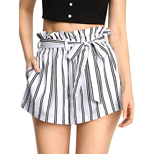 Women Retro Stripe Casual Fit Elastic Waist Pocket Self Tie Short Pants White-2, CN XL