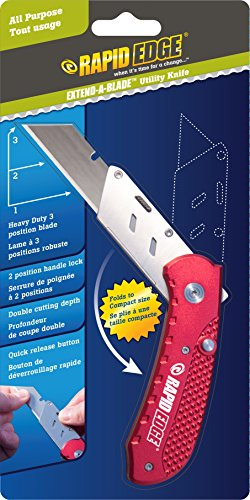 Rapid Edge Extend-A-Blade Utility Knife (Folding Razor Knife with Double Length Box Cutter Blade and 3 Sliding Blade Positions)