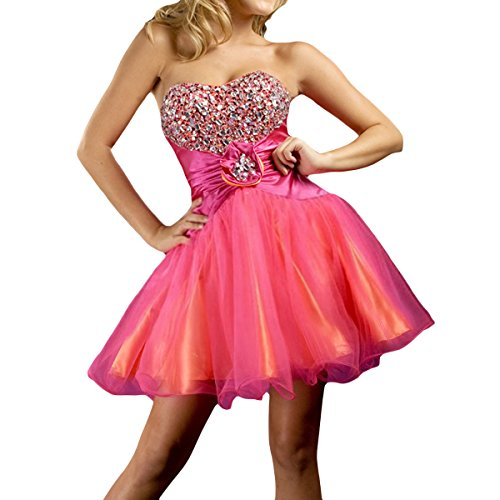 Shymay Women's Fitted Dress Sweetheart Beaded Strapless Flared Short Prom Dress, Rose Red, 8