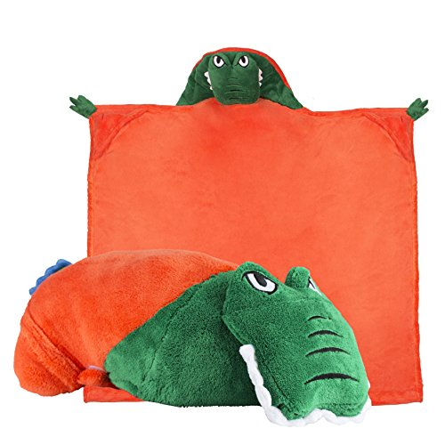 Comfy Critters Stuffed Animal Blanket – College Mascot, University of Florida 'Albert the Gator' – Kids huggable pillow and blanket perfect for the big game, tailgating, pretend play, and much more.