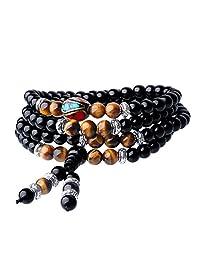AmorWing Multilayer Tibetan Tiger Eye Obsidian 108 Mala Beads Prayer Bracelet