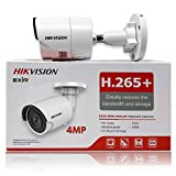 Hikvision 4MP H265+ 2K HD 4.0mm Lens DS-2CD2043G0-I PoE IP Network Bullet Security Camera with EXIR 98ft Night Vision, Smart H.265+ WDR, SD Card Slot, ONVIF, IP67 [English Version]