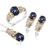 Star Sapphire Zircon 14K YG and Platinum Plated Silver Earrings Ring Size 8 and Pendant With Chain 20 in