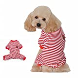 Visky Dog Stripe Clothes Dog Pajamas Jumpsuit Shirt-Red,Double Extra Large
