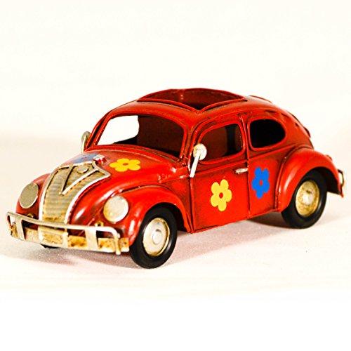 EliteTreasures Red Metal Replica Beetle Bug Car Decorative Figurine & Pencil Case - Vintage vw Bug Flowers - Tin Metal Toy Car Figurine - Retro Office Ornament