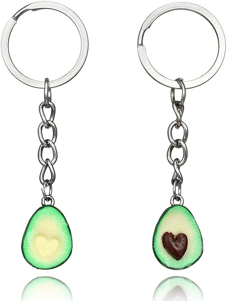 MINGHUA Green Avocado Friendship Keychain Handmade Pendant Oval Heart Love Present Necklace Food