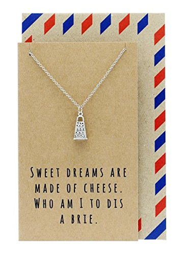 Gadgets Cheese (Cheese Grater Pendant Necklace, with Funny Quote Card, Funny Gifts, 16 inches to 18)