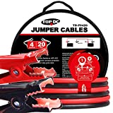 TOPDC Jumper Cables 4 Gauge 20 Feet Heavy Duty Booster Cables with Carry Bag 4AWG x 20Ft