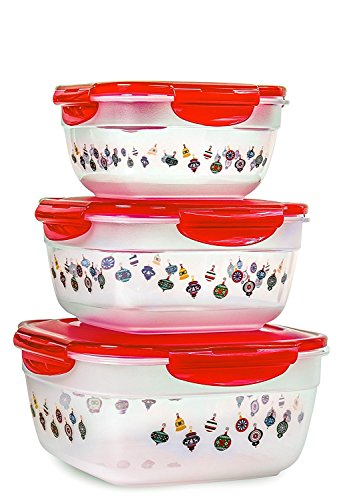 Lock & Lock 6pcs Set Square Plastic Food Storage Container Red Ornament Pattern with Nesting Design and Airtight Anti-Spill Proof Technology