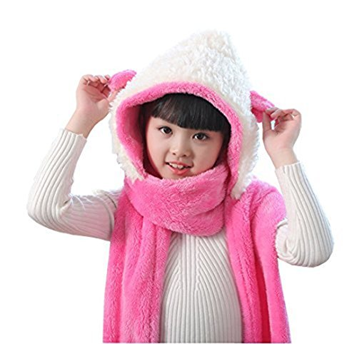 - Kids Toddler Cartoon Fleece Hat Gloves Scarf 3 In 1 Set Girls Boys Winter Cute Warm Long Hoodie Earflap Hat Snood Wraps Children Baby Plush Novelty Scarf Gloves Pocket Mitten Combo, Xmas Gift