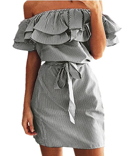 Shoulder Striped Ruffles Strapless Dresses product image