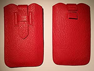 DFV mobile - Cover premium synthetic leather with loop extraction and security closure for > jiake n900, color rojo
