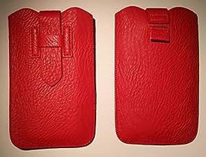 DFV mobile - Funda piel sintetica premium con lazo extraccion y cierre de seguridad para > g'five g7 / gfive g7, color roja