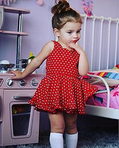 CaNIS Baby Girls Sleeveless Sweet Full Love Hearts Print Bodysuit Romper Dress
