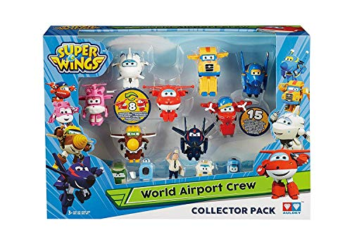Super Wings World Airport Crew Collector 15 Piece Mini Figure Pack