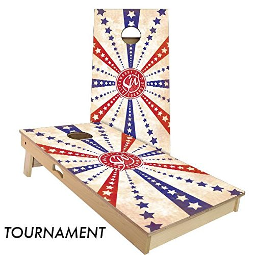 Slick Woody's Stars and Stripes Cornhole Board Set 4' by 2' Tournament size MADE IN THE USA!!