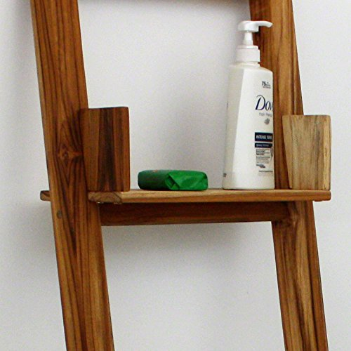 Teak Adjustable Shelf 15 L x 7 W x half inch Th in Teak Oil Fin for Towel Ladder (With Shelf Towel Ladder)