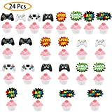 24 Pieces Video Game Cupcake Toppers, Cupcake Picks Cake Decorations for Kids Game Themed Party