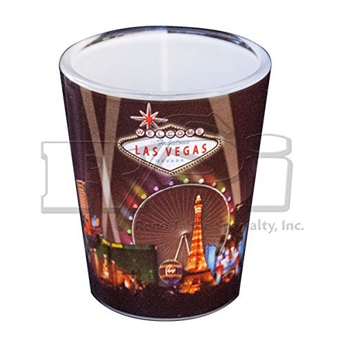 WELCOME TO FABULOUS LAS VEGAS GLASS SHOT GLASS - BLACK WITH STRIP HOTELS, WHEEL & SPOTLIGHTS (#8900625) (1)